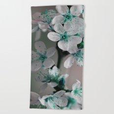 Pretty Spring Blossom Teal Blue Green Beach Towel