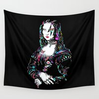 mona lisa Wall Tapestries featuring metal mona lisa by Vector Art