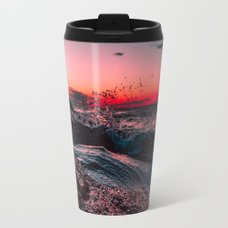 World map travel mug by blackwinter society6 pink ocean from sunset travel mug world map sciox Image collections