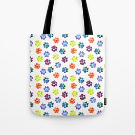 Rainbow Paw Print Pattern Tote Bag