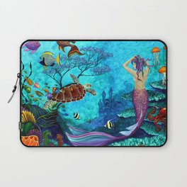 A Fish of a Different Color - Mermaid and seaturtle Laptop Sleeve