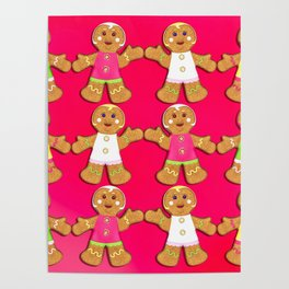 Gingerbread Men and Gingerbread Woman Cookies Poster