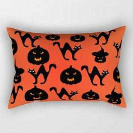 Halloween with cats and pumpkins Rectangular Pillow