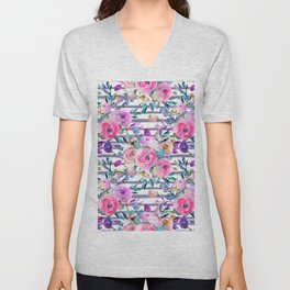 Pink mauve lilac hand painted watercolor roses floral stripes Unisex V-Neck