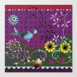 Song Bird - plum Canvas Print