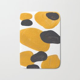 Mid Century Abstract Black & Yellow Fun Pattern Floating Mustard Bubbles Cheetah Print Bath Mat