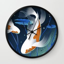 Koi Fishes in a Pond Wall Clock