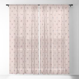 Ice Skaters on Champagne Pink Sheer Curtain