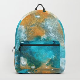 Aqua Teal Gold Abstract Painting #2 #ink #decor #art #society6 Backpack