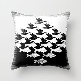 Escher - Sky and Water Throw Pillow
