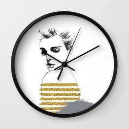 fashion girl. hand drawn portrait. fine art Wall Clock