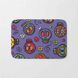 Sugar Skulls (on purple) - calavera, skull,  halloween, illustration Bath Mat