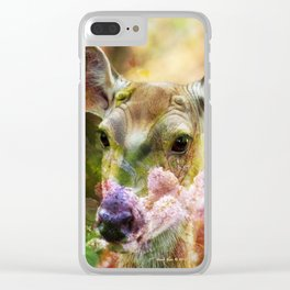 Fawn Peeking Through The Lilac Bushes By Annie Zeno Clear iPhone Case