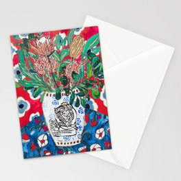 Rex Manning Day Red Floral Still Life with Lion Vase Stationery Cards