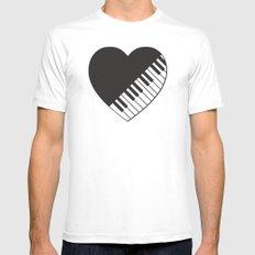 Piano Heart White MEDIUM Mens Fitted Tee