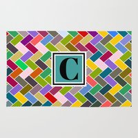 monogram Area & Throw Rugs featuring C Monogram by mailboxdisco