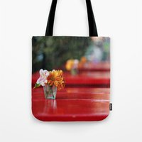 aperture Tote Bags featuring The red table by Nina's clicks