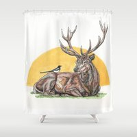 stag Shower Curtains featuring Stag by Meredith Mackworth-Praed