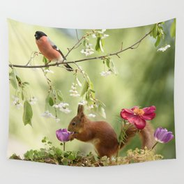 squirrel and bullfinch Wall Tapestry