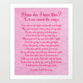 How Do I Love Thee Poem  - Pink Parchment Style Art Print