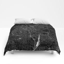 Nashville Black Map Comforters