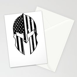 USA American Spartan Molon Labe Distressed Helmet With American Flag Stationery Cards