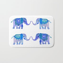 HAPPY ELEPHANTS - WATERCOLOR BLUE PALETTE Bath Mat
