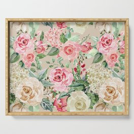 Modern rustic creme rose pink watercolor floral Serving Tray