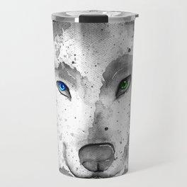 black and white : wolf Travel Mug