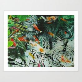 Carp and lilies Art Print