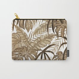 Golden Tropical Leafs Drawing Pattern Carry-All Pouch
