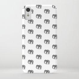 Elephant Flourish in Black iPhone Case