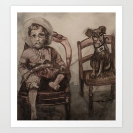Watercolor Portrait Painting of a Boy With His Dog Art Print