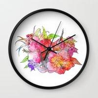 hawaiian Wall Clocks featuring Hawaiian Flowers by Nicko-Suave