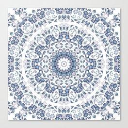 Grayish Blue White Flowers Mandala Canvas Print