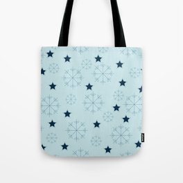 Snowflakes and stars - light blue Tote Bag