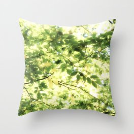 Bright Day-green leaves Throw Pillow