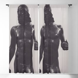 Greek sculpture, black & white fine art, Riace bronzes, greek art, Calabria Blackout Curtain