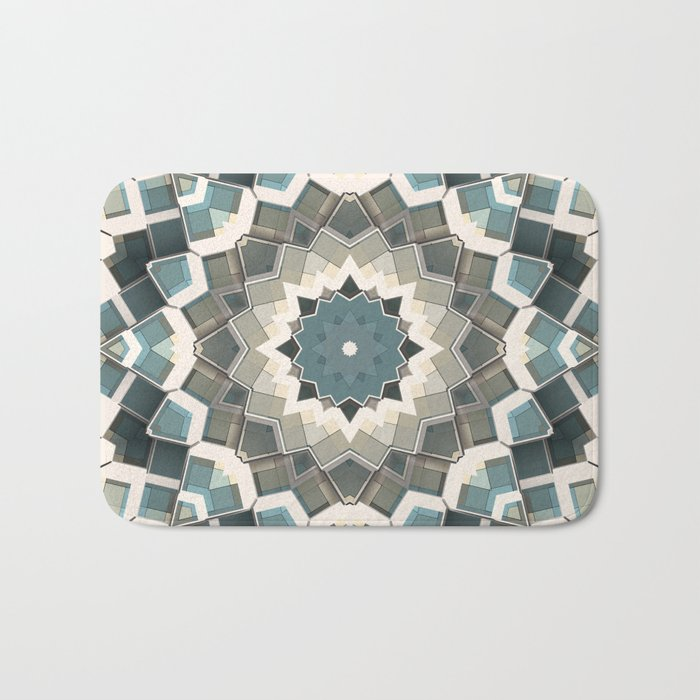 Blue And Beige Boxes Abstract Bath Mat
