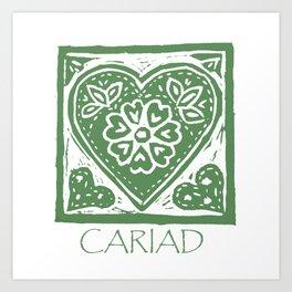 Cariad, darling sweetheart Welsh lino print green Art Print