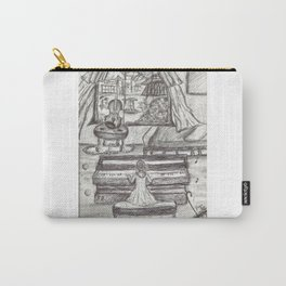 Black White Girl Playing Piano Pen Drawing Carry-All Pouch
