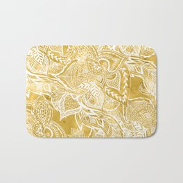 Modern lemon curry watercolor floral hand drawn pattern Bath Mat