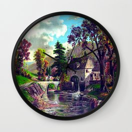 The Old Mill At The Creek Vintage Art Wall Clock