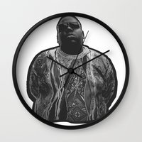 biggie Wall Clocks featuring biggie by irdion