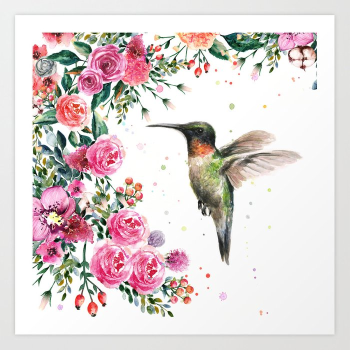 Hummingbird and Flowers Watercolor Animals Kunstdrucke