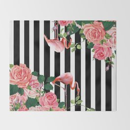 tropical flamingo Throw Blanket