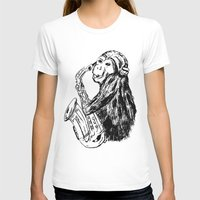 saxophone T-shirts featuring Musician monkey saxophone by Jemma Banks