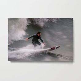 Surfer riding a wave Metal Print
