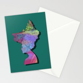 Castle In Her Hair Modern Stationery Cards