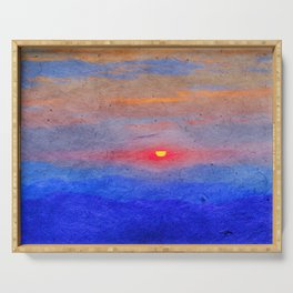 Paper-textured Sunset Serving Tray